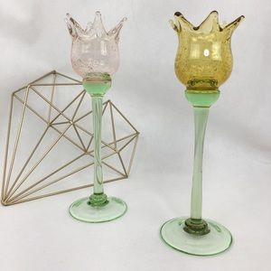 Pink Yellow Green Blown Glass Candle Holders